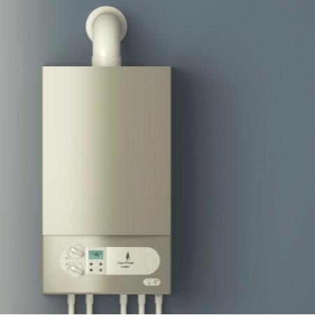 photo of a combi boiler in a small kitchen