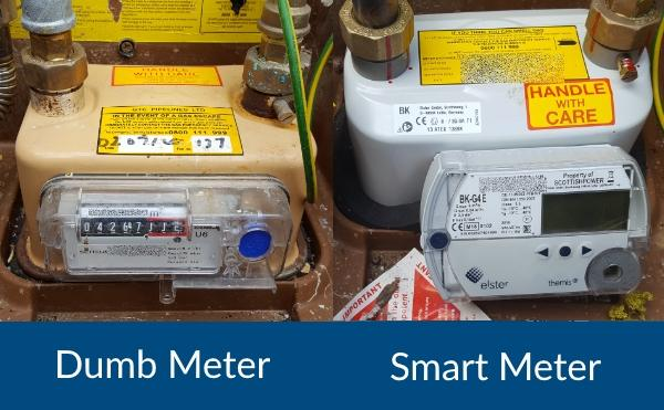 comparing the old Gas meter with the new Smart Meter