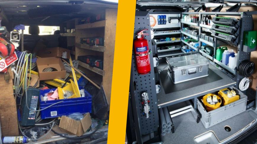 Messy Plywood van racking vs tidy bott Smartvanbott
