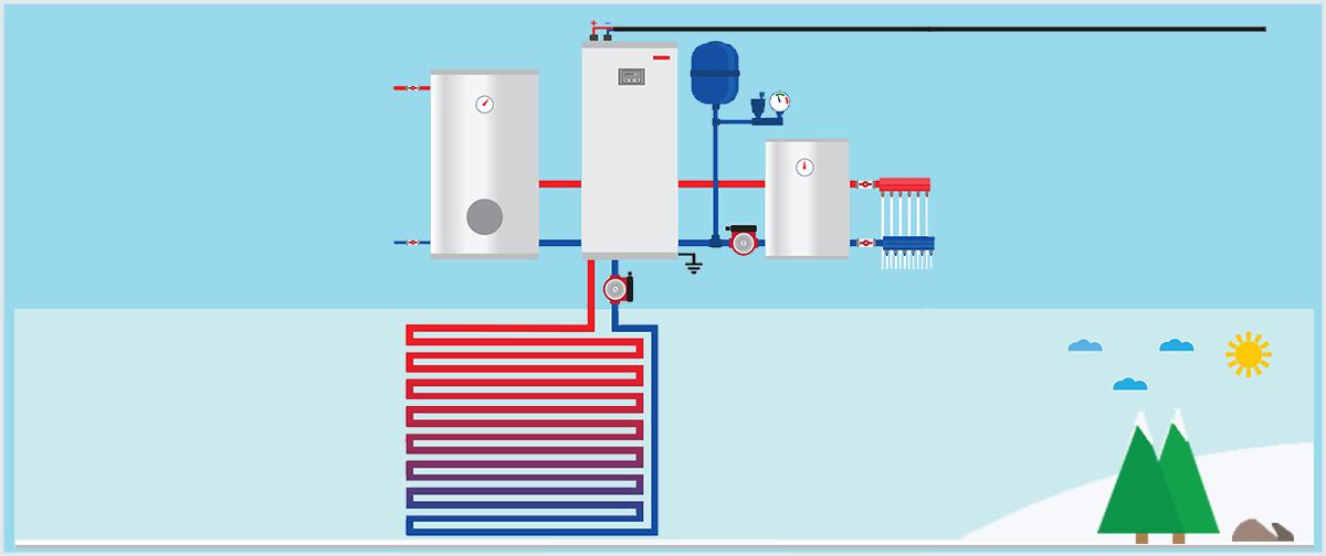 Cartoon Air Source Heat Pump In Winter