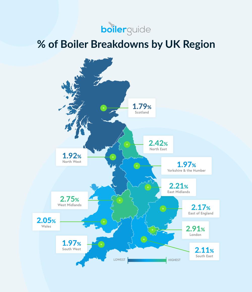 Boiler breakdown by region map