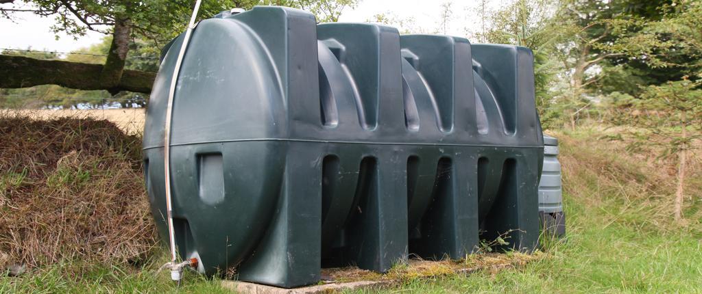 Oil tank installed in a garden