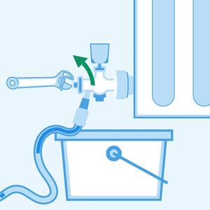 Open the valves to drain the combi boiler