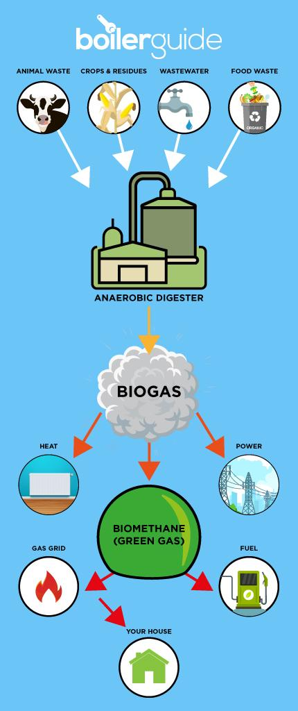 Green gas is made through anaerobic digestion and can be used to heat the home