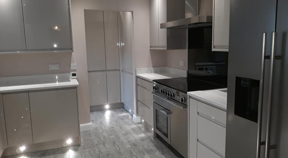 Grey High Gloss Handleless Kitchen