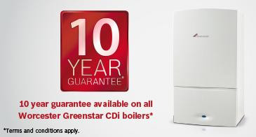 Worcester Bosch boilers with up to 10 year manufacturers guarantee
