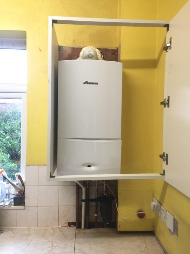 New Worcester Bosch Boiler in kitchen cupboard