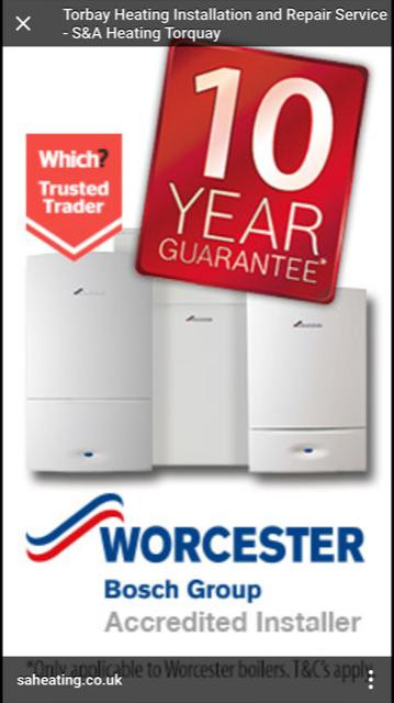 10 year guarantees on all Worcester Bosch Boilers