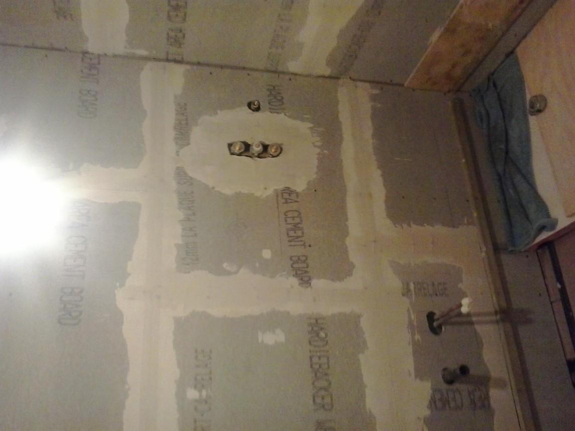 Tile backer board installed