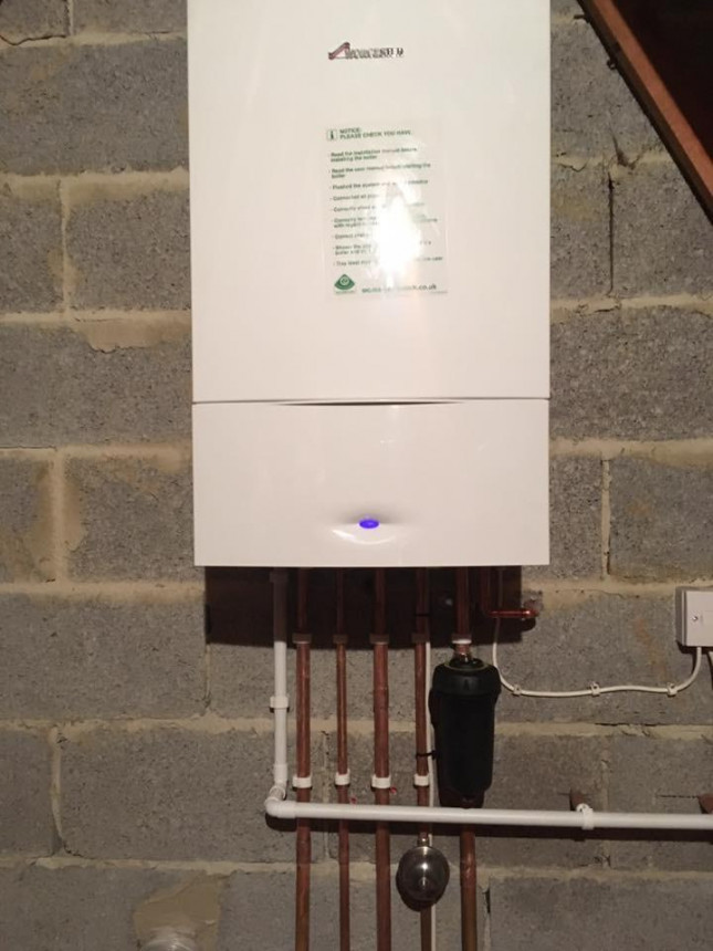 Worcester boiler in roof space. Chard, Somerset